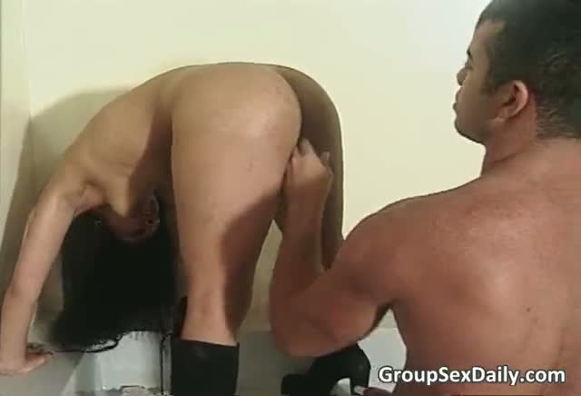 Filthy Brunette Slut Gets Fucked Hard In Tiny Pussy And Butt In Amazing Threesome 2 By GroupSexDaily