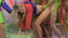 Horny Girls Undress And Humiliate Their Neighbor