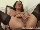 Classy Cougar Marlyn Strips And Pleasures Her Hairy Pussy